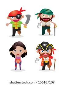 Set of 4 unique pirate vectors with man captain