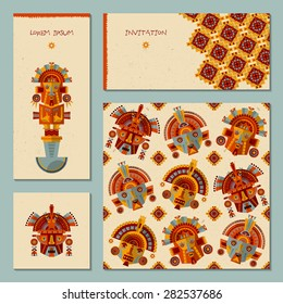 Set of 4 universal cards with Inca masks. Template. Party, birthday, holiday. Vector illustration