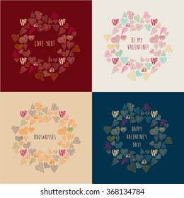 Set with 4 Valentine's greeting cards. Cute hearts and warm greetings. Vector illustration for Valentine's design, wedding design, greeting cards, etc.