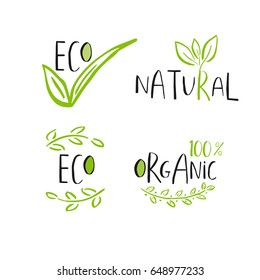 Set of 4 Vector eco, bio green logo or sign. Vegan, raw, healthy food badge, tag for cafe, restaurants, products packaging. Leaves, branches, plant elements with lettering. Organic design template.
