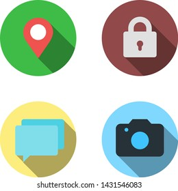 Set of 4 vector flat icons - marker, lock, tooltips, photo. Material design with long shadows and highlights. Cool colorful round pictograms made in the same style. Scaled without loss of quality.