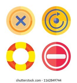 Set of 4 vector icons such as Close, Restart, Help, Stop, web UI editable icon pack, pixel perfect