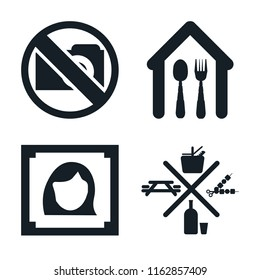 Set of 4 vector icons such as No Photo, Eatery, Woman portrait, Picnic, web UI editable icon pack, pixel perfect