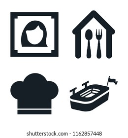 Set of 4 vector icons such as Woman portrait, Eatery, Chef hat, Big stadium, web UI editable icon pack, pixel perfect