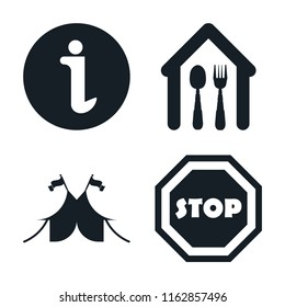 Set of 4 vector icons such as Information, Eatery, Circus, Stop, web UI editable icon pack, pixel perfect