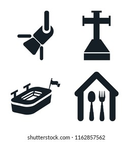 Set of 4 vector icons such as Reflector, Cross stuck in ground, Big stadium, Eatery, web UI editable icon pack, pixel perfect