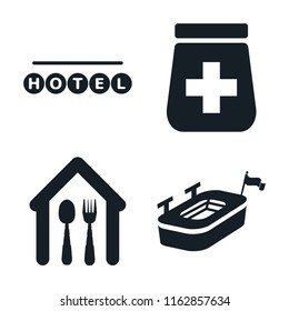 Set of 4 vector icons such as Round hotel, Pills jar, Eatery, Big stadium, web UI editable icon pack, pixel perfect