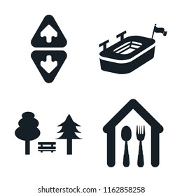 Set of 4 vector icons such as Elevator, Big stadium, Park, Eatery, web UI editable icon pack, pixel perfect