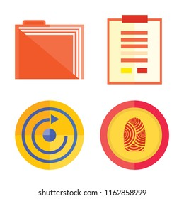 Set of 4 vector icons such as Folder, Notepad, Restart, Fingerprint, web UI editable icon pack, pixel perfect