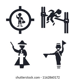 Set of 4 vector icons such as Businessman inside a ball, Man practicing high jump, Napoleon figure, Flag semaphore language, web UI editable icon pack, pixel perfect