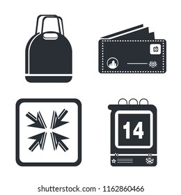 Set of 4 vector icons such as Supermarket Bag, Postcard with Stamp, Move Arrows, Daily Calendar Day 14, web UI editable icon pack, pixel perfect