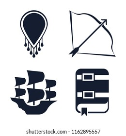 Set of 4 vector icons such as Necklace, Bow and arrow, Caravel, Book, web UI editable icon pack, pixel perfect