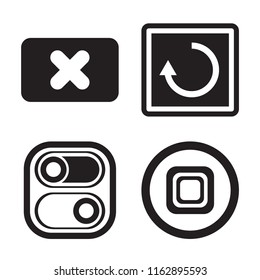 Set of 4 vector icons such as Close, Restart, Switch, Stop, web UI editable icon pack, pixel perfect