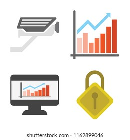 Set of 4 vector icons such as Cctv, Chart, Dashboard, Locking, web UI editable icon pack, pixel perfect