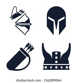 Set of 4 vector icons such as Crossbow, Helmet, Quiver, Viking, web UI editable icon pack, pixel perfect