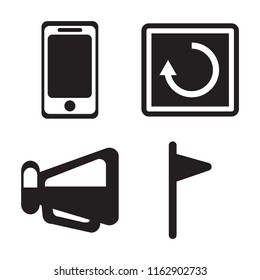 Set of 4 vector icons such as Smartphone, Restart, Megaphone, Flag, web UI editable icon pack, pixel perfect