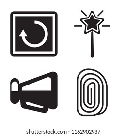 Set of 4 vector icons such as Restart, Magic wand, Megaphone, Fingerprint, web UI editable icon pack, pixel perfect