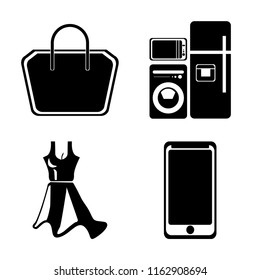 Set of 4 vector icons such as Tote bag, Electrical appliances, Dress, Smarthphone, web UI editable icon pack, pixel perfect