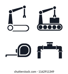 Set of 4 vector icons such as Robotic arm, Conveyor, Measuring tape, Pipe, web UI editable icon pack, pixel perfect