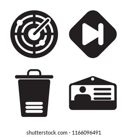 Set of 4 vector icons such as Radar, Skip, Trash, Id card, web UI editable icon pack, pixel perfect