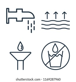 Set of 4 vector icons such as Watertap, Evaporation, Drop, No water, web UI editable icon pack, pixel perfect