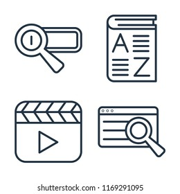 Set of 4 vector icons such as Search engine, Vocabulary, Video player, Search, web UI editable icon pack, pixel perfect