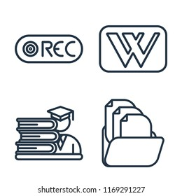 Set of 4 vector icons such as Record, Wikipedia, Student, Folder, web UI editable icon pack, pixel perfect