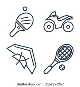 Set of 4 vector icons such as Table tennis, Motorcycle, Hang glider, Tennis racket, web UI editable icon pack, pixel perfect