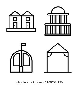 Set of 4 vector icons such as Terraced Houses, Government buildings, Bungalow, Arbor, web UI editable icon pack, pixel perfect