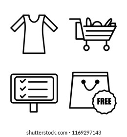 Set of 4 vector icons such as Shirt, Cart, Free, web UI editable icon pack, pixel perfect