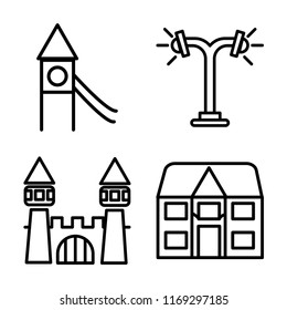 Set of 4 vector icons such as Playground, Street lamp, Castle, Detached, web UI editable icon pack, pixel perfect