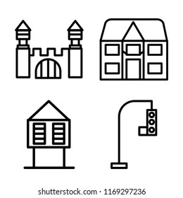 Set of 4 vector icons such as Mansion, Detached, Hut, Traffic light, web UI editable icon pack, pixel perfect