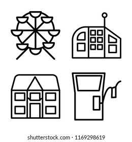Set of 4 vector icons such as Ferris wheel, Future House, Detached, Gas station, web UI editable icon pack, pixel perfect