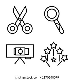 Set of 4 vector icons such as Scissors, Loupe, Canvas, Magic wand, web UI editable icon pack, pixel perfect