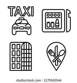Set of 4 vector icons such as Taxi, Minibar, Hotel, Restaurant, web UI editable icon pack, pixel perfect