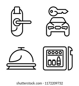Set of 4 vector icons such as Door key, Rent a car, Reception, Minibar, web UI editable icon pack, pixel perfect