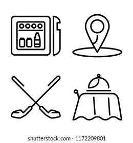 Set of 4 vector icons such as Minibar, Location, Golf, Room service, web UI editable icon pack, pixel perfect