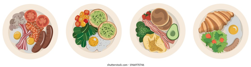 Set of 4 vector illustrations of bright tasty nutritious breakfasts. Plate top view.