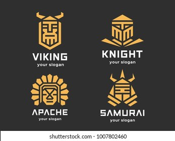 Set of 4 vector logos. Abstract warriors. Linear style. Color version on a dark background.