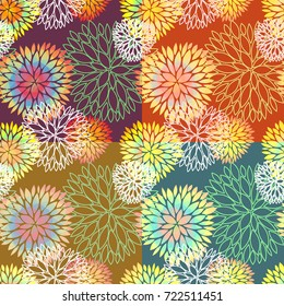 Set of 4 vector seamless abstract floral backgrounds