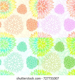 Set of 4 vector seamless abstract floral backgrounds in light gentle colors. Beautiful and creative blossom fabric patterns. Vector EPS10 file.