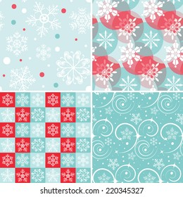 Set of 4 Vector Seamless Christmas Patterns