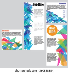 Set of 4 vector templates for brochures, flyers or business reports. Multi-colored triangles.