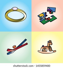 Set 4 vector toys (or christmas gift) - ring, puzzle, hockey stick, little horse