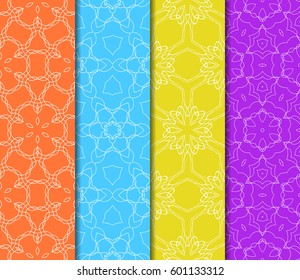 Set of 4 vertical seamless lace pattern with elements of floral ornament. Different colored bases. vector illustration. For decorating invitations, fashion design, textiles