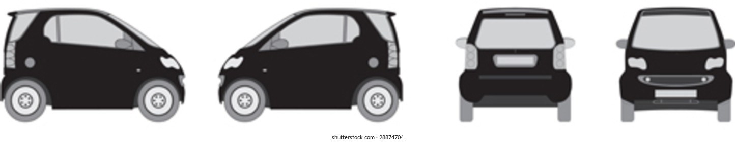 A set of 4 viewpoints of a small city eco car