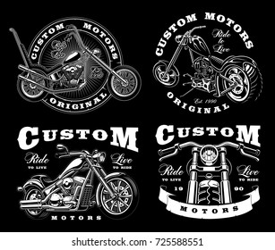 Set of 4 vintage biker illustrations, badges, logos, prints. VERSION ON DARK BACKGROUND. All elements and text are the separate layer.