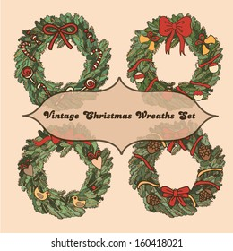 Set of 4 vintage christmas wreaths for your design