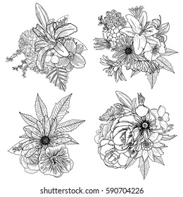 Set of 4 vintage floral vector bouquet of Petunia, Coneflower, Aster, Poppy, Chamomile, Rose and wild flowers, botanical Illustration. For summer floral greeting card, decorative bouquets, vector.