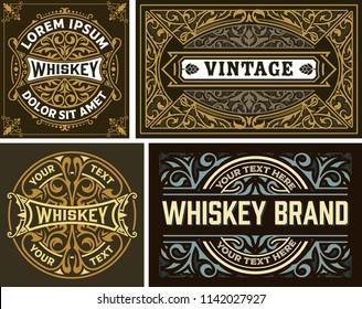 Set of 4 vintage label. Whiskey label style